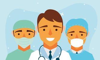 mannelijke artsen met uniformen en maskers vectorontwerp