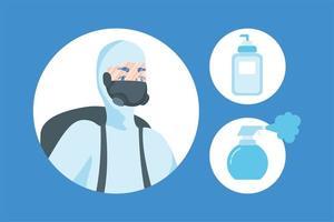 man met beschermend pak en santizer fles vector ontwerp