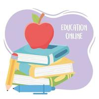 online onderwijs, appel op gestapeld boek met potlood