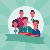 mannelijke en vrouwelijke artsen met uniformen en lint vector design