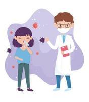 gezondheid online, dokter met masker en patiënt met hoest vector