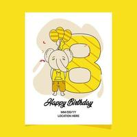 8e verjaardagspartij uitnodigingskaart met cartoon baby dier olifant Characterdesign