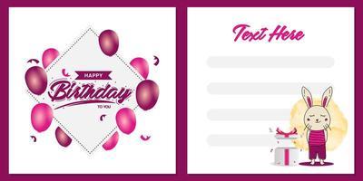 vierkante verjaardagspartij uitnodigingskaart sjabloonontwerp met konijntjeskarakterontwerp