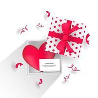 realistische open geschenkdoos met hart- en bladontwerpconcept