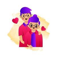 illustratie van man knuffelen zijn vriendin