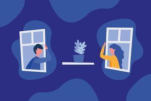 sociaal afstand nemen tussen jongen en meisje met maskers bij vensters vectorontwerp vector