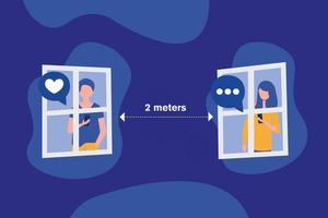sociaal afstand nemen tussen jongen en meisje met maskers bij vensters vectorontwerp