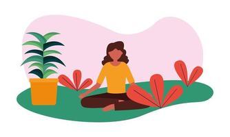 vrouw met plant in pot vector design