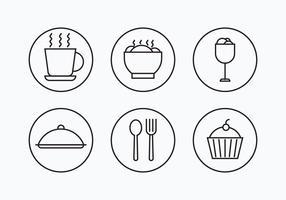 charcuterie eenvoudige schets iconen vector