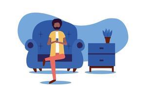 man met smartphone op stoel thuis vector ontwerp