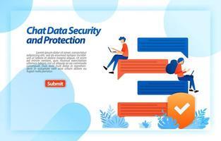 online gegevensbeveiliging en -bescherming chatten met een internetbeveiligingssysteem om de privacy van het apparaat en de gebruiker te beschermen. vector illustratie concept voor bestemmingspagina, ui ux, web, mobiele app, poster, banner