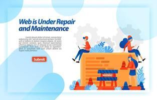 web in reparatie en onderhoud. website bezig met reparatie- en verbeteringsprogramma voor een betere ervaring. vector illustratie concept voor bestemmingspagina, ui ux, web, mobiele app, poster, banner, advertentie