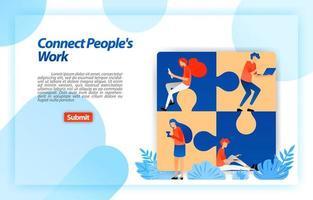 puzzel die het werk van mensen verbindt. vind het beste team in partnerschap en teamwerk bij het bepalen van de bedrijfsstructuur. vector illustratie concept voor bestemmingspagina, ui ux, web, mobiele app, poster, banner