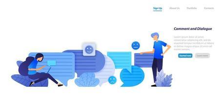 commentaarvenster en dialoogvenster. mensen chatten met elkaar met bubble chat-emoticons voor spraak en communicatie. vlakke afbeelding concept voor bestemmingspagina, web, ui, banner, flyer, poster, sjabloon, achtergrond vector
