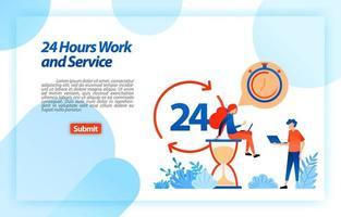 24 uur per dag werkende klantenservice om gebruikers te ondersteunen bij het verkrijgen van betere informatie en services, altijd en overal. vector illustratie concept voor bestemmingspagina, ui ux, website, mobiele app, poster, advertenties