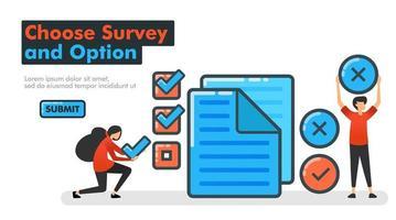 kies enquête en optie lijn vectorillustratie. keuzes maken bij onderzoeken en onderzoeken door documenten te controleren of te kruisen. check en maak keuzes ja of nee. voor bestemmingspagina's website mobiele app ui vector