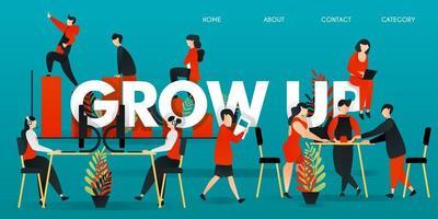 platte stripfiguur. vectorillustratie voor technologie, bedrijf, opstarten, werkruimte. mensen werken aan een bureau, discussiëren met computers en collega's. en mensen die op een staafdiagram klimmen om volwassen te worden.