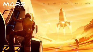 missie op mars voor bestemmingspagina-sjabloon vector