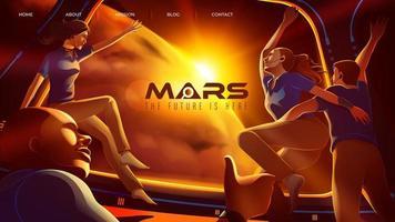 vier ruimte-astronauten feliciteren samen in het ruimteschip met hun aankomst op de Mars