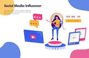 werken als social media influencer illustratie concept. modern plat ontwerpconcept voor website van bestemmingspagina, ui ux voor mobiele apps, bannerposter, flyerbrochure, webadvertenties voor gedrukte documenten. vector eps 10