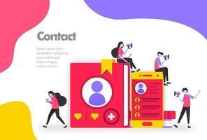 contactlijst illustratie concept, lijst met namen en persoonlijke informatie. modern plat ontwerpconcept voor bestemmingspagina-website, mobiele apps ui ux, flyerbrochure, webafdrukdocument. vector eps 10
