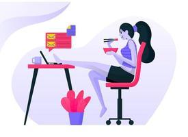 meisjes werken in casual of sexy kleding, heffen hun benen op het bureau en eten met stokjes. vrouw rusten voor de lunch. platte vector illustratie concept voor bestemmingspagina, website, web, mobiele apps