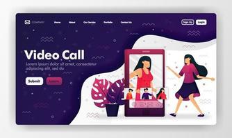 videogesprek vectorontwerp voor website en bestemmingspagina met cartoon vlakke afbeelding. vrouwen die op het smartphonescherm communiceren. kan gebruiken voor bestemmingspagina, website, ui ux, web, mobiele app, brochure, advertenties vector