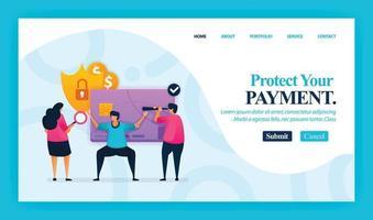 bestemmingspagina vector ontwerp van uw betaling beschermen. gemakkelijk te bewerken en aan te passen. modern plat ontwerpconcept webpagina, website, startpagina, mobiele apps, ui. karakter cartoon afbeelding vlakke stijl.