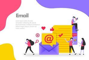 e-mail illustratie concept verzenden, ontvangen en lezen online brief. modern plat ontwerpconcept voor bestemmingspagina-website, mobiele apps ui ux, bannerposter, flyerbrochure, webafdrukdocument. vector eps 10