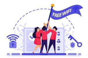 mensen vliegen een vlag uit protest om gratis internet of wifi-toegang te krijgen met maximale beveiliging. sleutel om in te breken in firewallbescherming om gratis wifi te krijgen. vectorillustratie voor web, bestemmingspagina, banner, mobiel vector