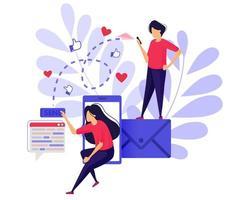 stuur berichten en e-mail. meisje stuur als en liefde met een mobiele telefoon. smartphone sociale media-apps. karakter concept vectorillustratie voor weblandingspagina, banner, mobiele apps, boekillustratie