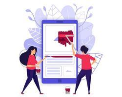 ontwikkeling van mobiele apps. mensen die smartphoneapplicaties ontwerpen en schilderen. karakter concept vectorillustratie voor weblandingspagina, banner, mobiele apps, kaart, boekillustratie vector