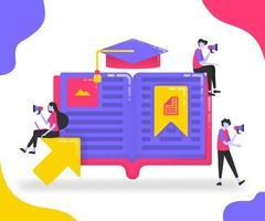 boekillustraties voor het onderwijs. studenten die tussen boeken of woordenboeken studeren. bladwijzer op belangrijke pagina's in het boek. afstudeer hoed. platte vector concept voor bestemmingspagina, website, mobiel, apps