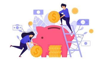 sparen in een spaarvarken. toont mensen die geld in het bankwezen steken om sparen en bankrente te kopiëren voor ROI. karakter concept vectorillustratie voor weblandingspagina, mobiele apps vector