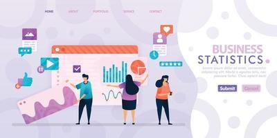bestemmingspagina-ontwerp van bedrijfsstatistieken met vlakke afbeelding stripfiguur. visualisatie van bedrijfsgegevens van lay-outdiagram, banner, webdesign, webpagina, website, startpagina, mobiele apps, ui.