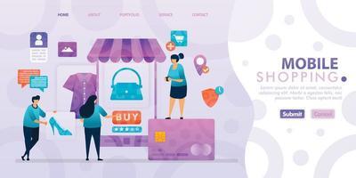 bestemmingspagina-ontwerp van mobiel winkelen met platte illustratie stripfiguur. visualisatie van bedrijfsgegevens van lay-outdiagram, banner, webdesign, webpagina, website, startpagina, mobiele apps, ui.