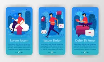 mockupsjabloon voor mobiele telefoons voor gestarte apps voor cloud, opslag en chatten met een platte cartoonillustratie. kan gebruiken voor mobiele applicatie, ui ux, smartphoneachtergrond, welkomstintroductie, poster