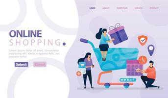 bestemmingspagina vectorontwerp van online winkelen en e-commerce. gemakkelijk te bewerken en aan te passen. modern ontwerpconcept webpagina, website, startpagina, mobiele apps. karakter cartoon afbeelding vlakke stijl.