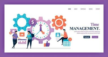 bestemmingspagina vector ontwerp van tijdbeheer. gemakkelijk te bewerken en aan te passen. modern plat ontwerpconcept webpagina, website, startpagina, mobiele apps. karakter cartoon afbeelding vlakke stijl.