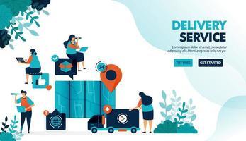 bezorgservice per vrachtwagen en koerier. vind de locatie van het punt met de kaart om goederen af te leveren. e-commercedienst. platte vectorillustratie voor bestemmingspagina, web, website, banner, mobiele apps, flyer, poster vector