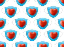 medisch masker met realistisch rood hart