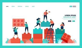 vector ontwerp van spel, lego, zakelijke grafiek. mensen werken samen om het probleem op te lossen, lego-puzzelspel te voltooien om business intelligence of bi te bouwen en te ontwikkelen. strategie om groeisucces te behalen