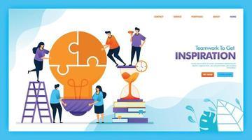 bestemmingspagina vectorontwerp van teamwerk om inspiratie op te doen. gemakkelijk te bewerken en aan te passen. modern plat ontwerpconcept van web, website, startpagina, ui voor mobiele apps. karakter cartoon afbeelding vlakke stijl. vector