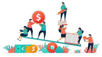evenwicht tussen financiën en onderwijs. de kosten van onderwijs zijn duur en minder betaalbaar. ideeën en geld in leerresultaten. wankelen of schalen in studie en een baan krijgen. studenten financieel beheer vector