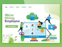 bestemmingspagina vector ontwerp van we huren werknemer in. gemakkelijk te bewerken en aan te passen. modern plat ontwerpconcept webpagina, website, startpagina, ui voor mobiele apps. karakter cartoon afbeelding vlakke stijl.