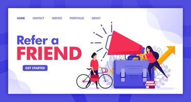 bestemmingspagina vector ontwerp van een vriend doorverwijzen. gemakkelijk te bewerken en aan te passen. modern plat ontwerpconcept webpagina, website, startpagina, ui voor mobiele apps. karakter cartoon afbeelding vlakke stijl.