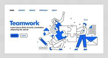 teamwerk vectorontwerp voor zakelijke bestemmingspagina-website met platte cartoon afbeelding. mensen maken de puzzel af en lossen deze op. een oplossing vinden. kan gebruiken voor bestemmingspagina, website, ui ux, web, mobiele app