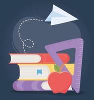 online onderwijs, boeken driehoek liniaal appel klasse vector