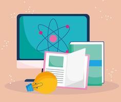 onderwijs online, computerboeken leren klasse vector