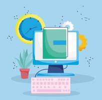 onderwijs online, computertoetsenbord ebook klok leren vector